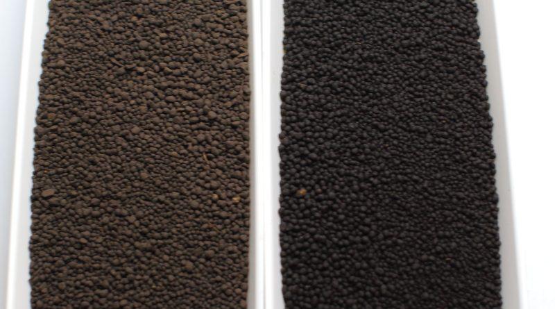 アクアソイル アマゾニア ノーマル(左)とJUN プラチナソイル パウダー(右)比較